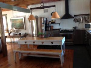 Table et banc -ilôt de cuisine antique