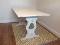 Solid oak shabby chic dining table painted with Annie Sloan chalk paint