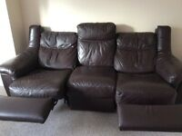 Real leather 3 sofa with 2 recliners