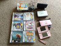Pink Nintendo ds plus games and accessories