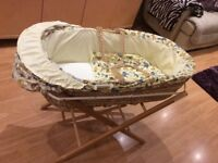 MOSES BASKET with STAND and MATTRESS Cream Animal Print Fabric