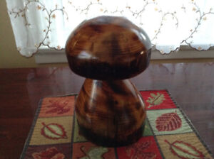 Wooden carved mushrooms , 1/2 log benches