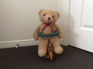 Teddy on his Wooden Tricycle