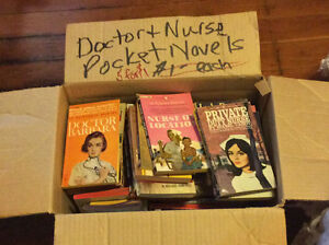 Box of vintage pocket novels.