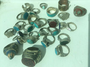 Tribal eastern jewelry rings etc. Turquoise lapis malachite etc