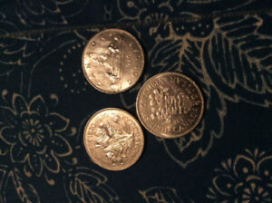 5 Old Us and Canadian coins, dating from 1776 to 1976