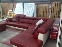 Dfs red leather corner suite and storage stool