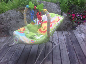 FISHER PRICE BABY BOUNCER WTH VIBRATOR AND HANGING MONKEYS EUC