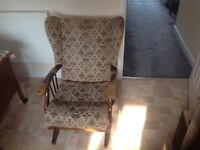One wingback rocking chair, one standard wingback chair
