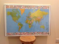 Framed and Laminated Map of the World