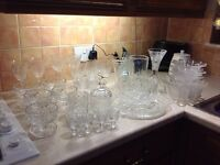 Crystal cut glass dishes and vases and glasses