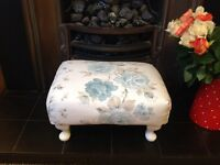 Shabby chic Laura Ashley hand painted/covered foot stool.