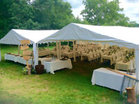 Outdoor Wedding Tent Rental - chairs, tables, dance floor, bar