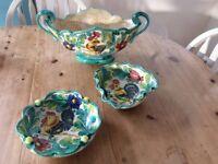 3 pieces of Italian pottery