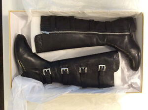 Michael Kors black motorcycle style leather boots