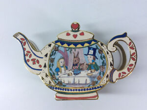 "Alice in Wonderland ""A mad tea party"" Tea Pot Trinket Box"