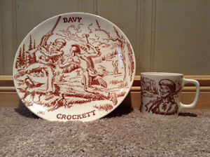 Vintage 1950's Davy Crockett plate and cup