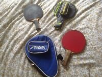 Stiga Ping Pong Bats + Cases + 3 balls