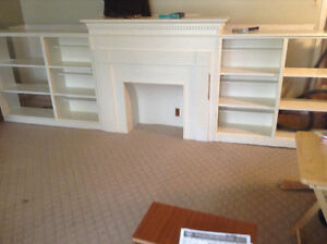 Vintage fireplace mantle with shelves