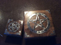 Two Wood Boxes with Metal Pentagram Design