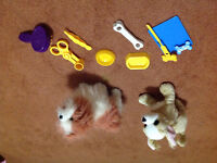 For real dog and stuffed puppy with dog grooming kit
