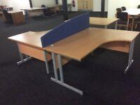 2 x beech L Shape desks with divider