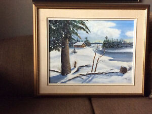 Oil on canvas Winter Scene Windsor Region Ontario image 1