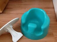 Jade blue bumbo baby seat for boys and girls with detachable tray helps babies sit