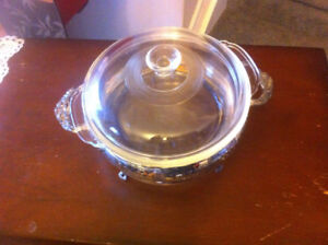 silverplate serving stand with lidded Fire King casserole insert