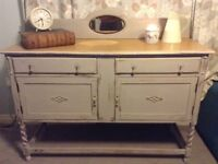 Vintage solid oak shabby chic sideboard