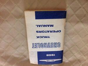 1958 Chevrolet truck opératoires manual