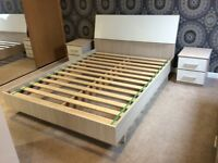 White gloss king size bed with matching furniture