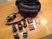 Camera, 3 lenses, filters, bag & accessories