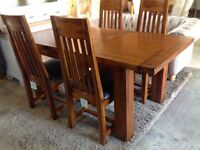 Brand New Extending Table & 4 Solid Dark Wood Chairs Worth £699!