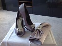 Stunning grey shoes with matching clutch bag