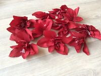 11 red taffeta flowers with beads