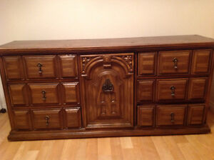 SET: Antique solid wood dresser, chest, end table and mirror