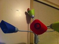 Female love bird with a big cage, big black stand, and toys etc.