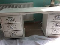 Annie Sloan large dressing table/desk white shabby chic