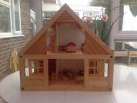 Wooden dolls house children kids