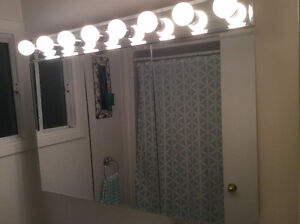 Bathroom cabinet, 3 mirrored doors with shelves and light bar.