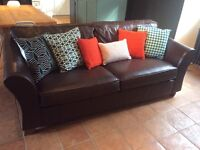 M&S brown leather sofa - large 2 seater