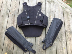 Horse Riding Body Protector by Charles Owen and half chaps
