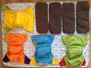 Ecoable OS charcoal bamboo AIO cloth diapers + extra inserts