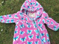 Hatley girls all in one fleece - pink butterflies 12-18mths