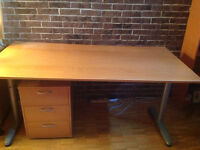 IKEA Desk with Bookcase, Drawer Unit and Swivel Chair