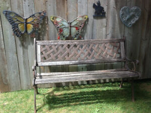 Outdoor bench with cast iron frame - great condition