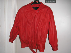 RED LEATHER JACKET  size med