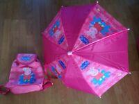 Peppa Pig backpack and umbrella set