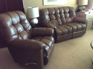 LaZBoy Leather Reclining Loveseat and Reclining Swivel Rocker